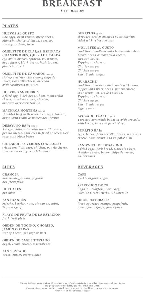 Breakfast Menu Hacienda